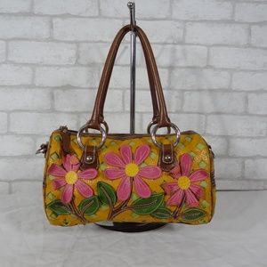 Isabella Fiore Leather Floral Embossed Satchel